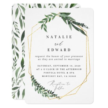 Gold geometric frame leafy wedding invitation. invitation