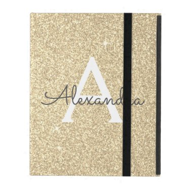 Gold Glitter and Sparkle Monogram iPad Case