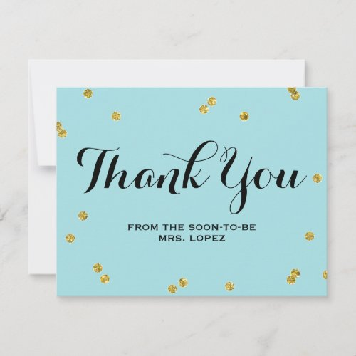 Gold Glitter Blue | Bridal Shower Thank You Cards