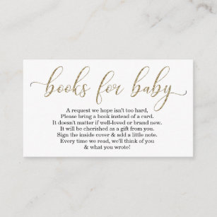 Gold Glitter Book Request Baby Shower Invitation