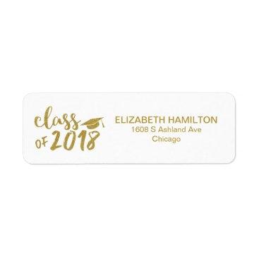 Gold Glitter Modern Script Graduation Party Label
