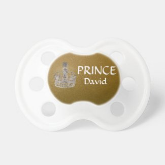 Gold Glitter Prince David Pacifier
