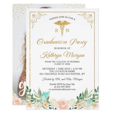 Gold Glitter Rose Garden Nursing Graduation Photo Invitation