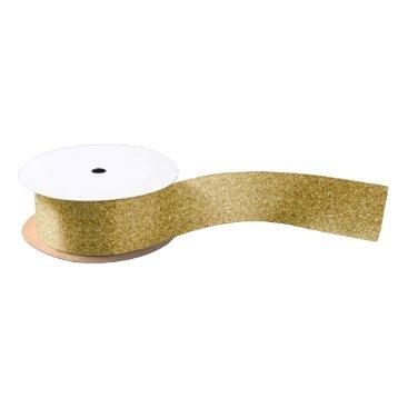 Gold Glitter & Sparkles Pattern Satin Ribbon