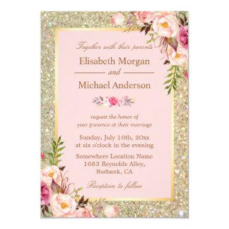 Blush Pink And Gold Wedding Invitat