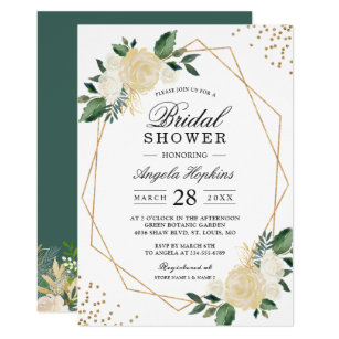 Gold Glitters Greenery Fl Bridal Shower Brunch Invitation