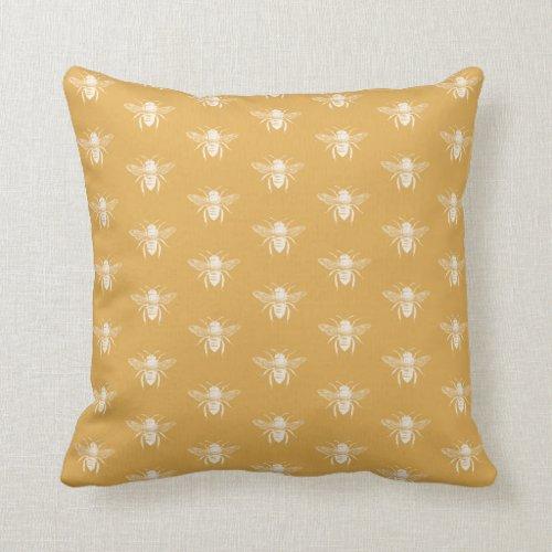 Gold Honey Bee Pattern Throw Pillow