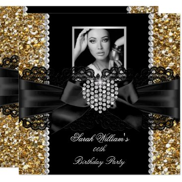 Gold Lace Diamond Heart Photo Birthday Party Card
