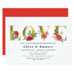 Gold Letters with Red Flowers Engagement Party Invitation