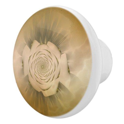 Gold Marble Rosette Ceramic Knob