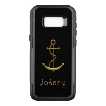 Gold maritime anchor on black nautical custom name OtterBox commuter samsung galaxy s8  case