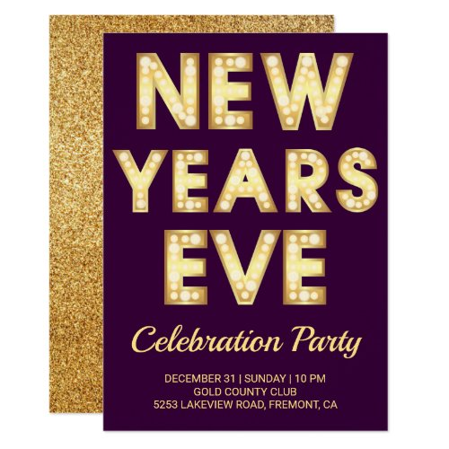 Gold Marquee Letters New Year's Eve Party Invitation