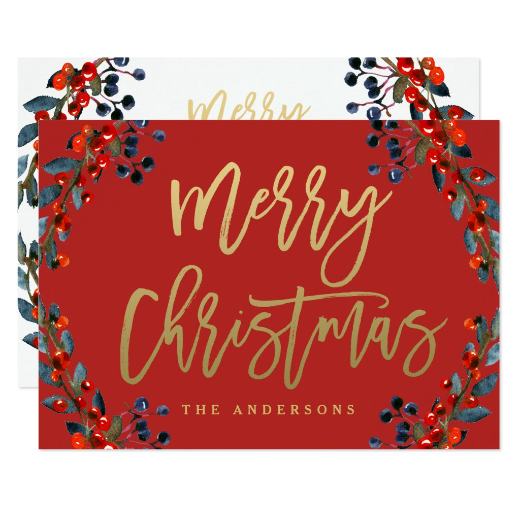 Gold Merry Christmas Script Berries Holiday Card