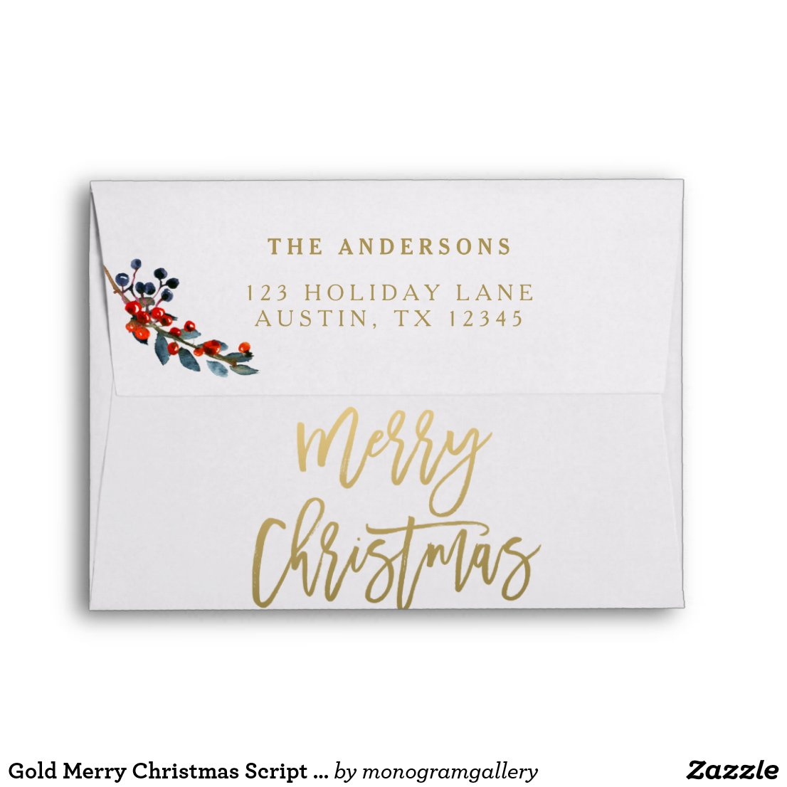 Gold Merry Christmas Script Red Berries Holiday Envelope