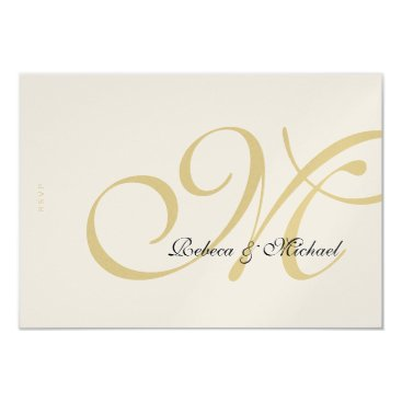 Gold Metallic Wedding RSVP Card