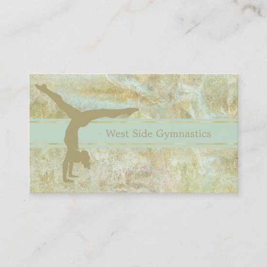 Gold Mint Abstract Gymnastic Business Card