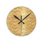 gold,on rustic gold,chevron,zig zag,grunge,trendy, round wall clocks