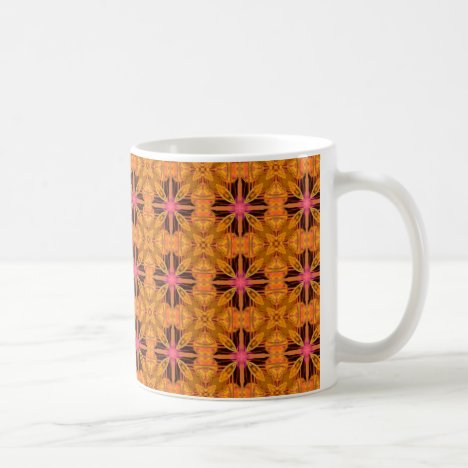 Gold Pink Geometric Abstract Moroccan Snowflake Coffee Mug