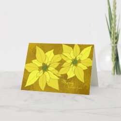Gold Poinsettias Christmas Cards card