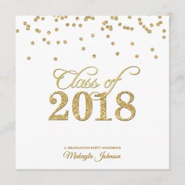 Gold Polkadot Glitter Class of 2018 Party invite