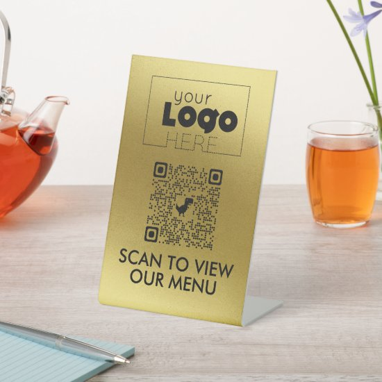Gold QR Code No Contact Scan for Menu Table Signs
