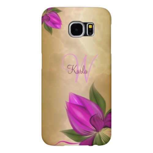 Gold Rose Marble Floral Samsung Galaxy S6 Cases
