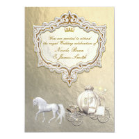 Gold Royal Princess Storybook Carriage & Unicorn Card