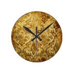 Gold,rustic,vintage,antique,damask,elegant,chic, Round Wallclock