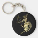 Gold Sagittarius Archer Keychain