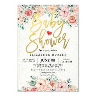 Gold Script Watercolor Fl Baby Shower Invite