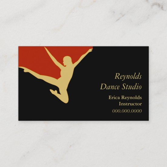 Gold Silhouette Dancer Business Card