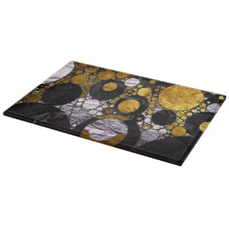 Gold/Silver/BlkMetal Text abstract cutting Boards
