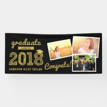 Gold Sketch 2018 Photo Collage Grad Party Banner
