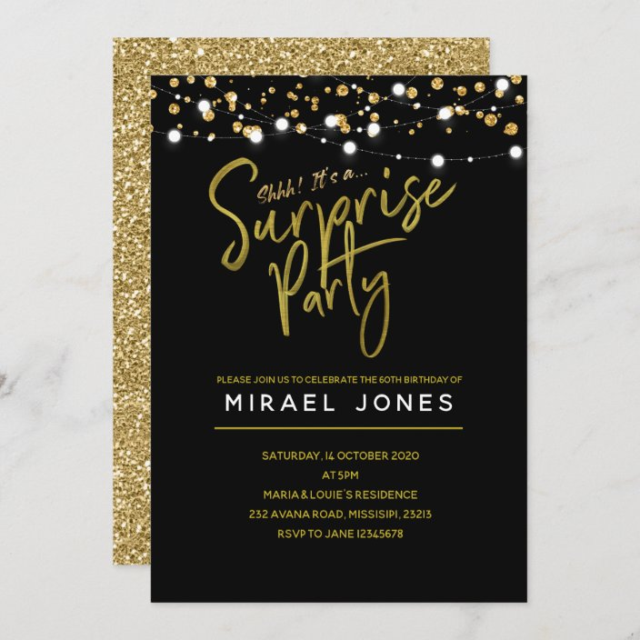 gold surprise birthday party invitation card zazzle com