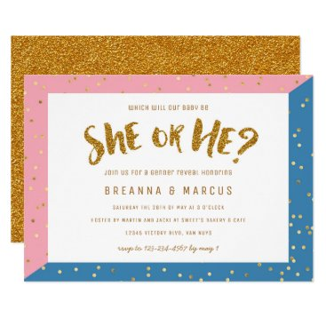 Gold Two Tone Gender Reveal Party Baby Shower Invitation