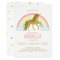 Gold Unicorn Girls Birthday Party Card