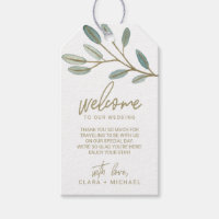 43c5c7911 Gold Veined Eucalyptus Wedding Welcome Gift Tags