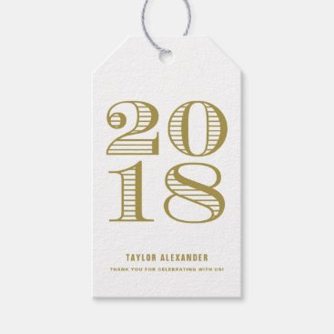Gold Vintage Typography Class of 2018 Graduation Gift Tags