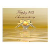 Golden Anniversary Dolphins and Heart Postcard