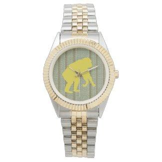 Golden Chimpanzee Art Silver and Gold Watch