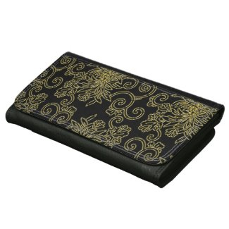 Golden chrysanthemums arabesque Japanese pattern Wallets