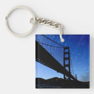Golden Gate Bridge Photo Edit - Rainy Night Acrylic Key Chain