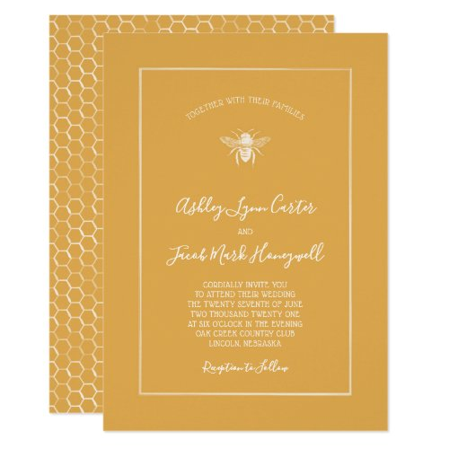 Golden Honeycomb Pattern Wedding Invitation