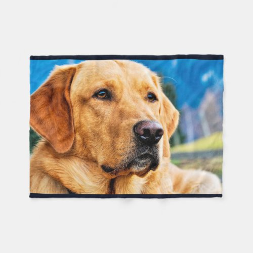 Golden Labrador Retriever Fleece Blanket