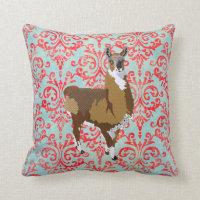 Golden Llama Damask MoJo Pillow