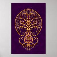 Golden Purple Guitar Tree of Life Poster
