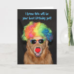 ❤️ Golden Retriever Birthday Clownin' Around Card