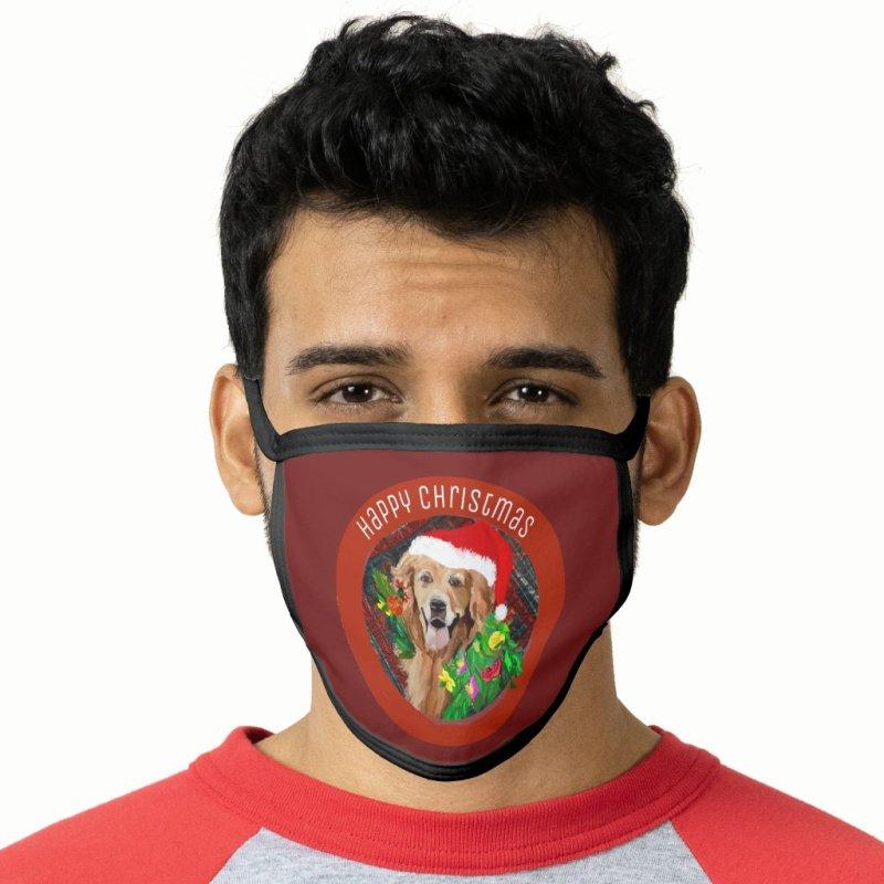 Golden Retriever Christmas Cheer Face Mask