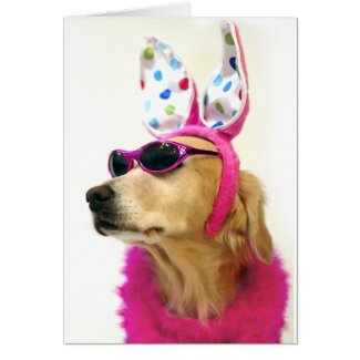 Golden Retriever Easter Princess Card