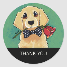 Golden Retriever with Rose Thank You Stickers